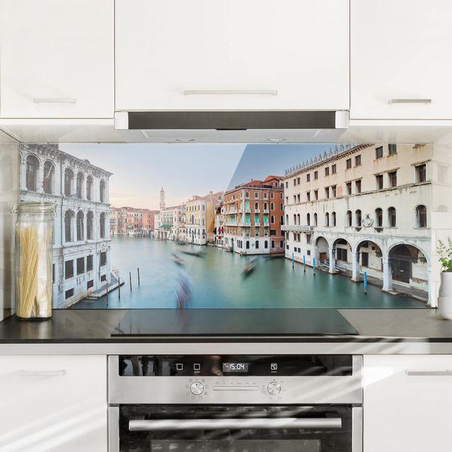 Spritzschutz Glas - Canale Grande Blick von der Rialtobrücke Venedig - Panorama