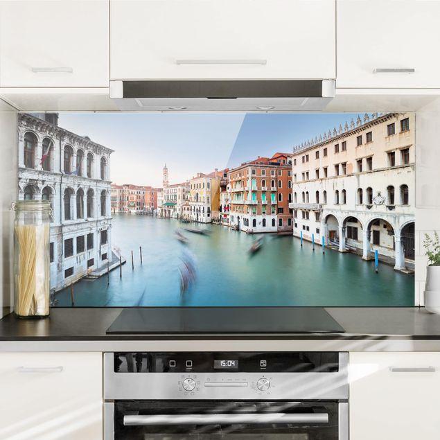 Spritzschutz Glas - Canale Grande Blick von der Rialtobrücke Venedig - Querformat 1:2