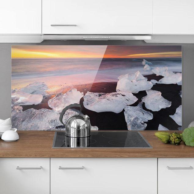 Spritzschutz Glas - Eisbrocken bei der Gletscherlagune Jökulsárlon Island - Querformat 1:2