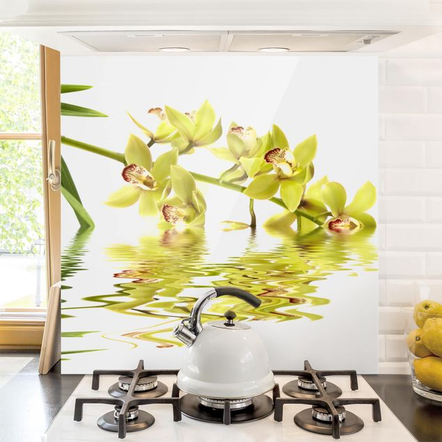 Spritzschutz Glas - Elegant Orchid Waters - Quadrat 1:1