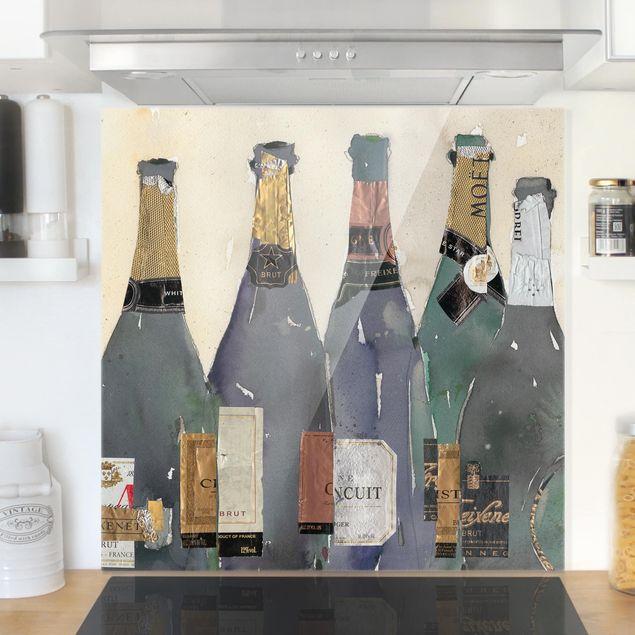 Spritzschutz Glas - Entkorkt - Champagner - Quadrat 1:1