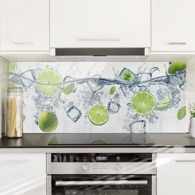 Spritzschutz Glas - Erfrischende Limette - Panorama Quer