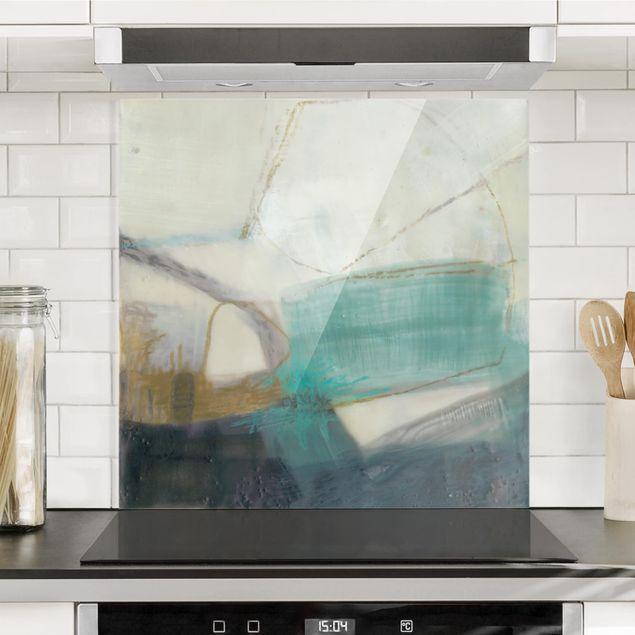 Spritzschutz Glas - Fangzähne mit Türkis I - Quadrat 1:1