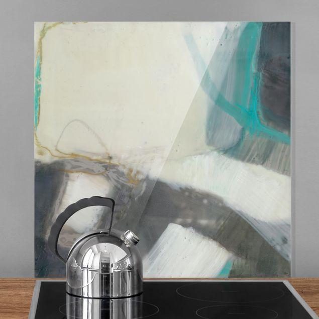 Spritzschutz Glas - Fangzähne mit Türkis III - Quadrat 1:1