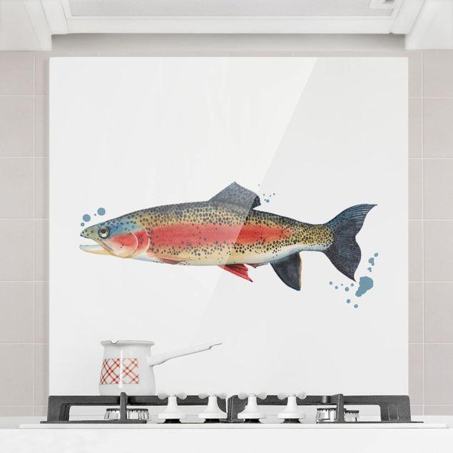 Spritzschutz Glas - Farbfang - Forelle - Quadrat 1:1