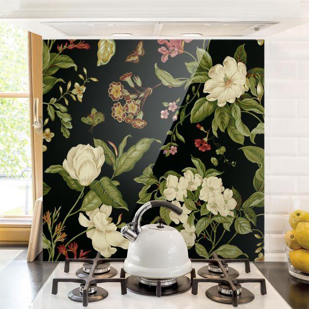 Spritzschutz Glas - Gartenblumen auf Schwarz I - Quadrat 1:1