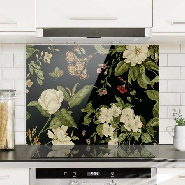 Spritzschutz Glas - Gartenblumen auf Schwarz I - Querformat 3:4
