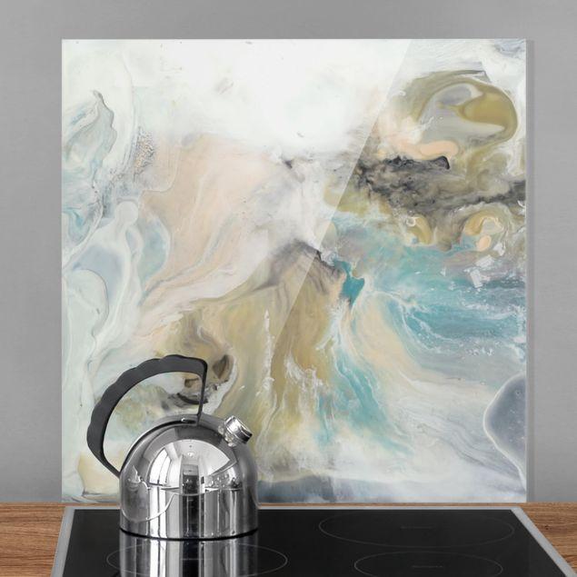 Spritzschutz Glas - Gezeiten mit Strandgut II - Quadrat 1:1