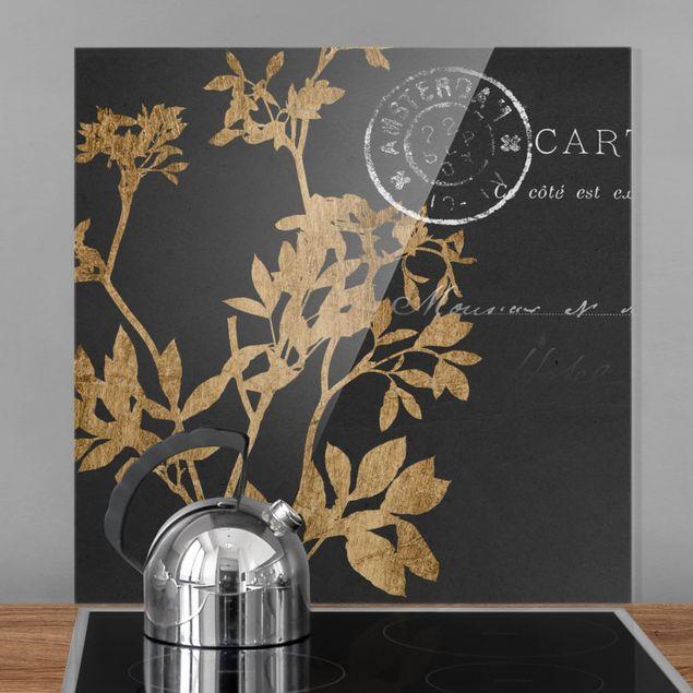 Spritzschutz Glas - Goldene Blätter auf Mokka I - Quadrat 1:1