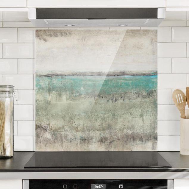 Spritzschutz Glas - Horizont über Türkis I - Quadrat 1:1