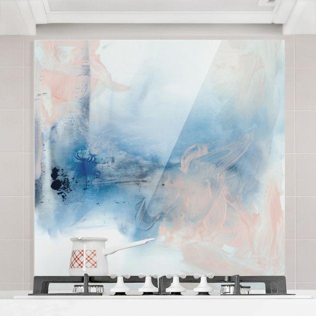 Spritzschutz Glas - Indigo & Rouge I - Quadrat 1:1