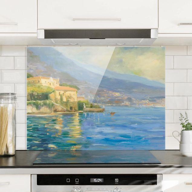 Spritzschutz Glas - Italienische Landschaft - Meer - Querformat 3:4