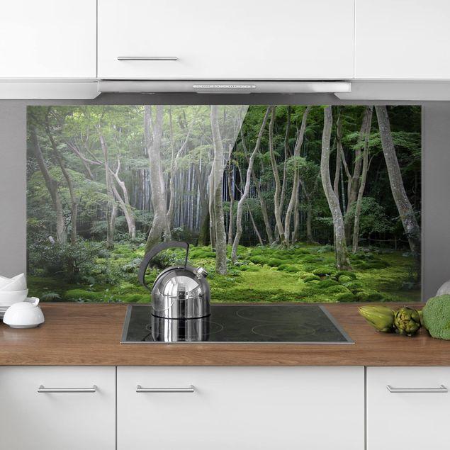Spritzschutz Glas - Japanischer Wald - Quer 2:1