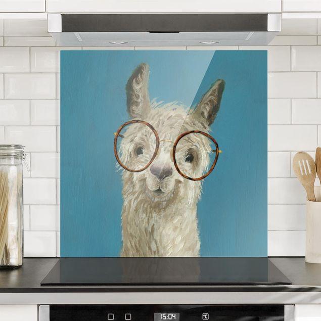 Spritzschutz Glas - Lama mit Brille I - Quadrat 1:1
