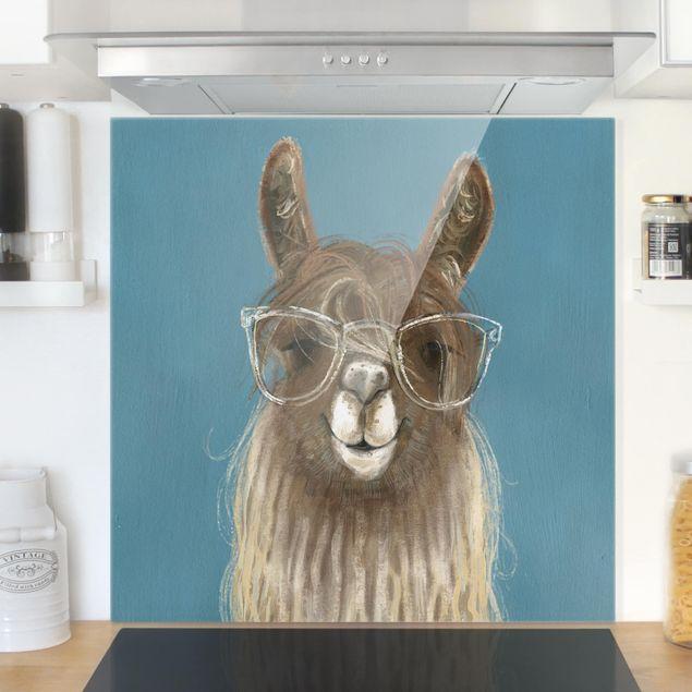 Spritzschutz Glas - Lama mit Brille III - Quadrat 1:1