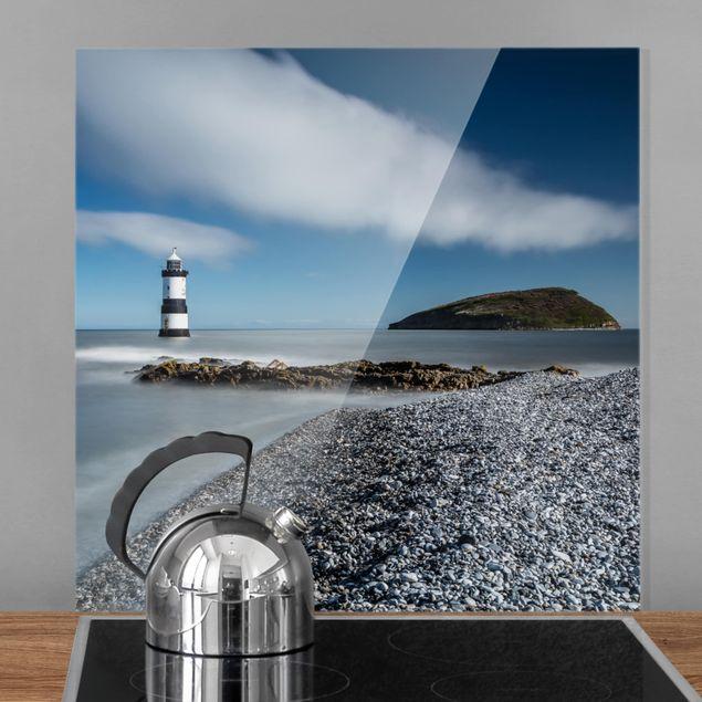 Spritzschutz Glas - Leuchtturm in Wales - Quadrat 1:1