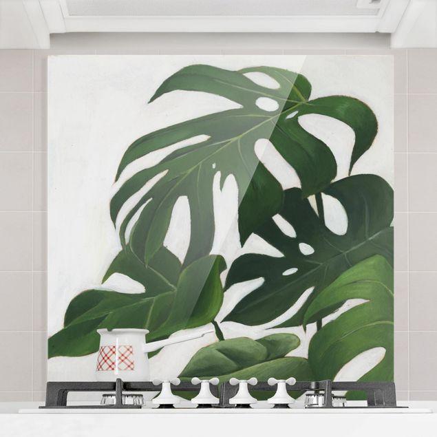 Spritzschutz Glas - Lieblingspflanzen - Monstera - Quadrat 1:1