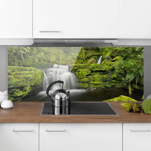Spritzschutz Glas - Lower McLean Falls in Neuseeland - Panorama
