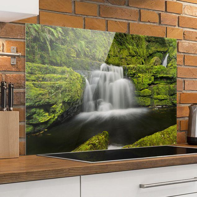 Spritzschutz Glas - Lower McLean Falls in Neuseeland - Querformat 2:3