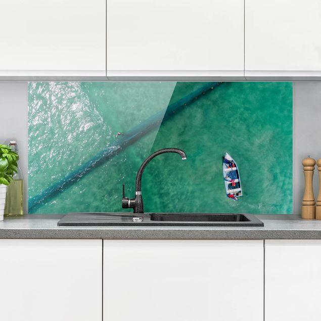 Spritzschutz Glas - Luftbild - Fischer - Querformat 1:2