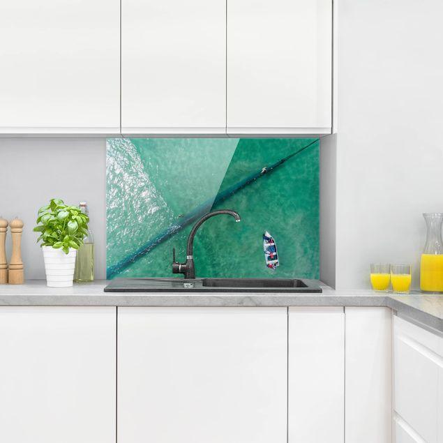 Spritzschutz Glas - Luftbild - Fischer - Querformat 2:3