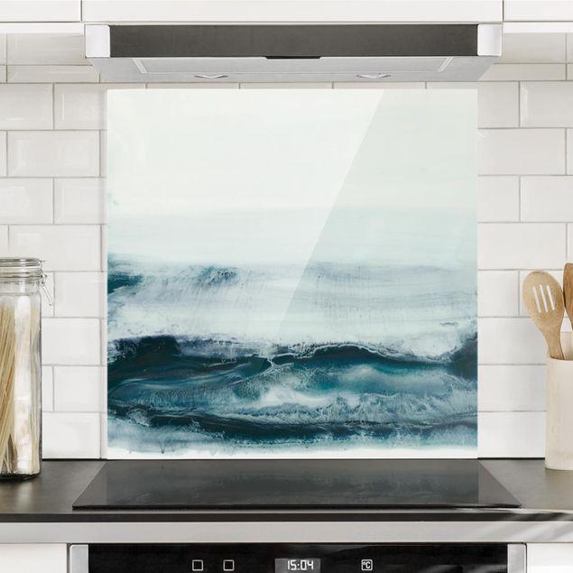 Spritzschutz Glas - Meeresströmung I - Quadrat 1:1