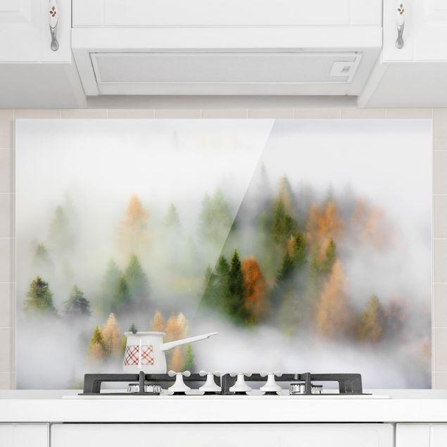 Spritzschutz Glas - Nebelwald im Herbst - Querformat 2:3