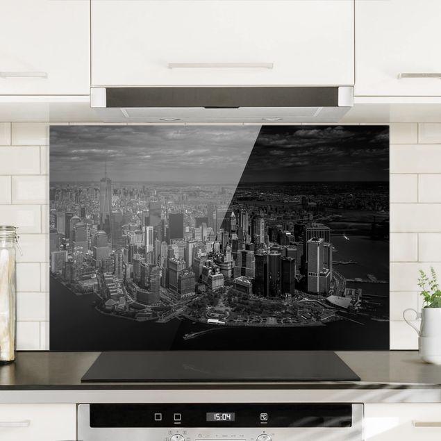 Spritzschutz Glas - New York - Manhattan aus der Luft - Querformat 2:3