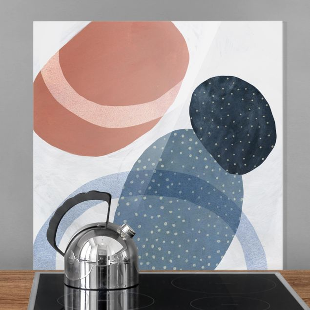 Spritzschutz Glas - Orbit mit Punkten II - Quadrat 1:1