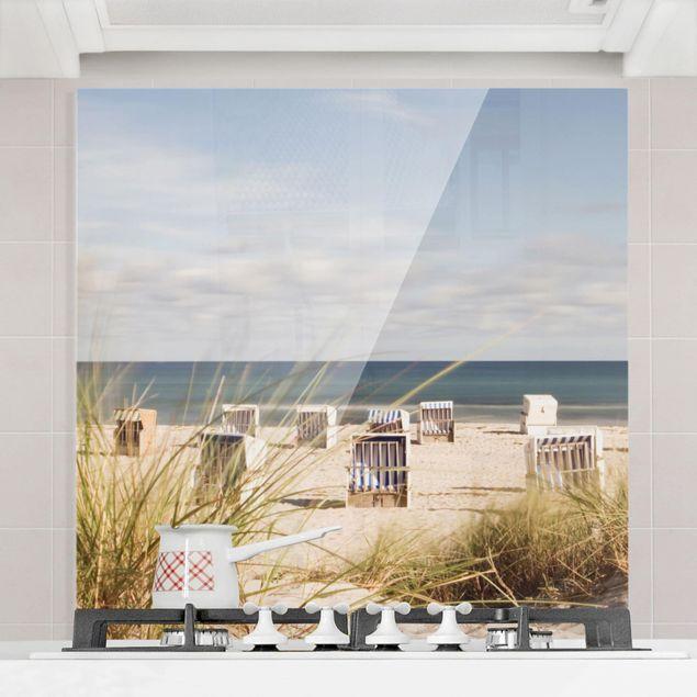 Spritzschutz Glas - Ostsee und Strandkörbe - Quadrat 1:1