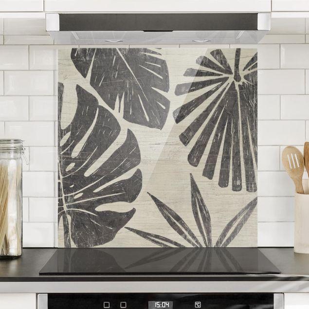 Spritzschutz Glas - Palmenblätter vor Hellgrau - Quadrat 1:1