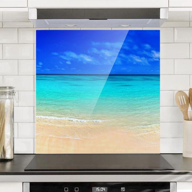 Spritzschutz Glas - Paradise Beach I - Quadrat 1:1