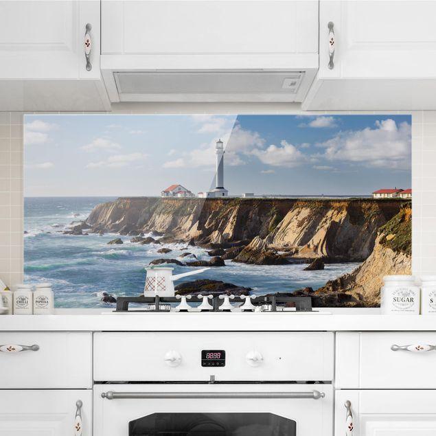 Spritzschutz Glas - Point Arena Lighthouse Kalifornien - Querformat 1:2
