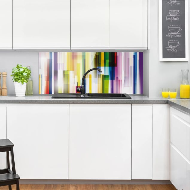 Spritzschutz Glas - Rainbow Cubes - Panorama Quer