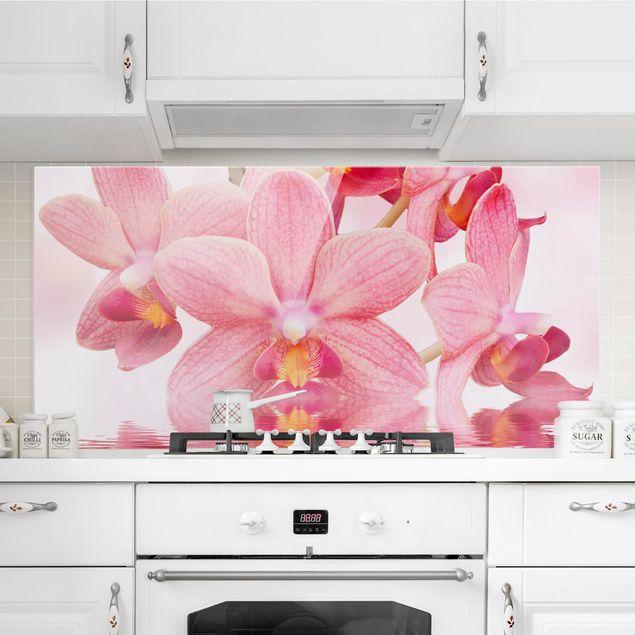 Spritzschutz Glas - Rosa Orchideen auf Wasser - Quer 2:1