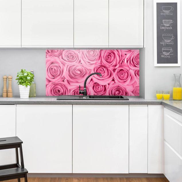Spritzschutz Glas - Rosa Rosen - Querformat 2:1