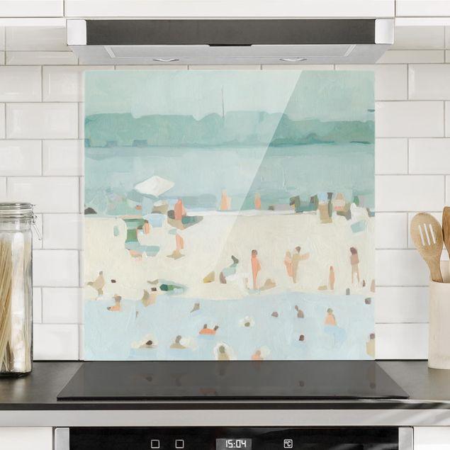 Spritzschutz Glas - Sandbank im Meer I - Quadrat 1:1