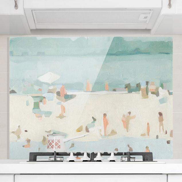 Spritzschutz Glas - Sandbank im Meer I - Querformat 3:4