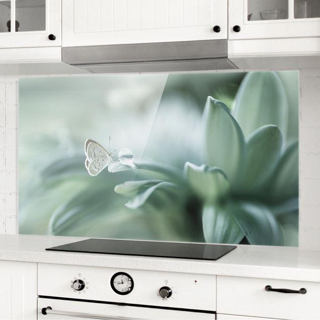 Spritzschutz Glas - Schmetterling und Tautropfen in Pastellgrün - Querformat 1:2