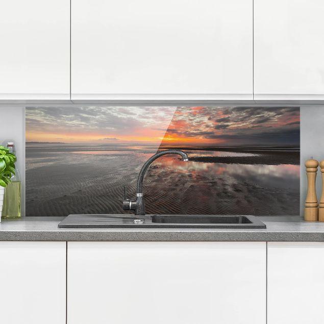 Spritzschutz Glas - Sonnenaufgang im Watt - Panorama