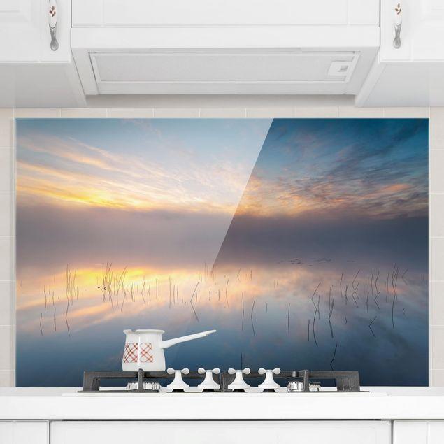 Spritzschutz Glas - Sonnenaufgang schwedischer See - Querformat 2:3
