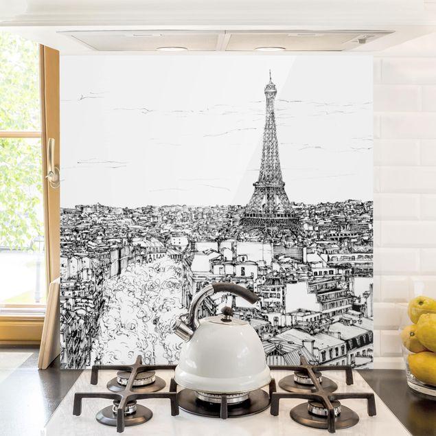Spritzschutz Glas - Stadtstudie - Paris - Quadrat 1:1