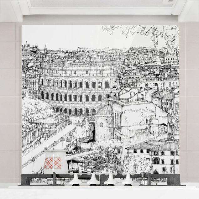 Spritzschutz Glas - Stadtstudie - Rom - Quadrat 1:1