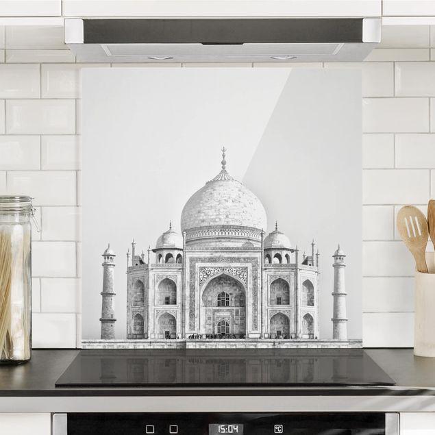 Spritzschutz Glas - Taj Mahal in Grau - Quadrat 1:1