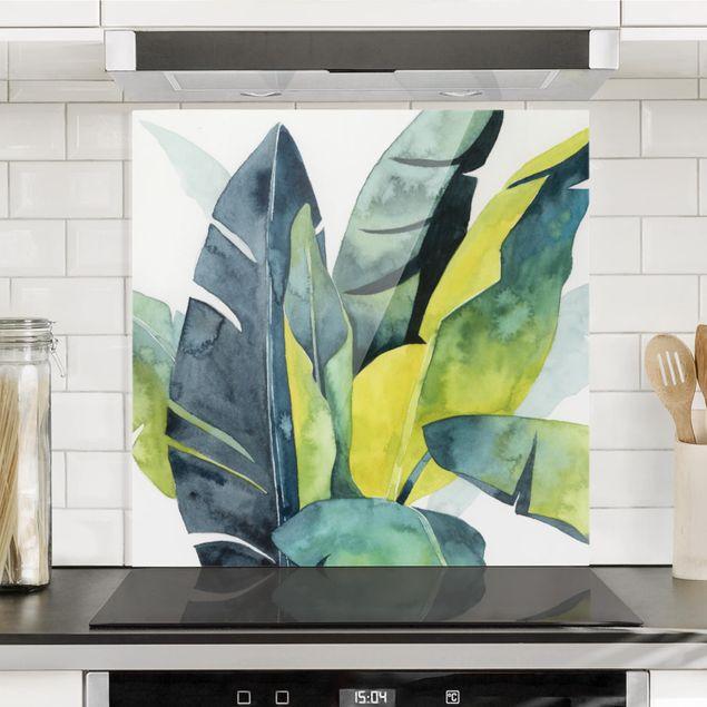 Spritzschutz Glas - Tropisches Blattwerk - Banane - Quadrat 1:1