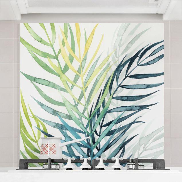 Spritzschutz Glas - Tropisches Blattwerk - Palme - Quadrat 1:1