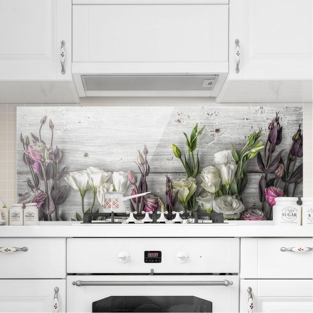 Spritzschutz Glas - Tulpen-Rose Shabby Holzoptik - Panorama Quer