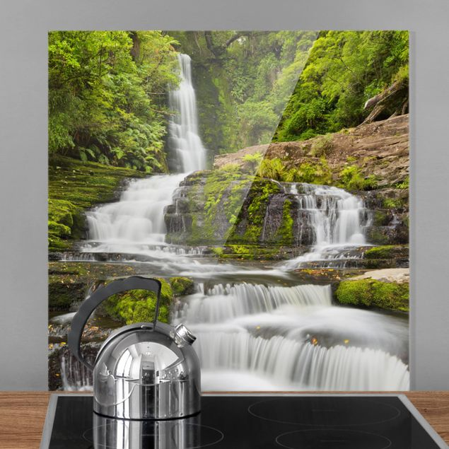 Spritzschutz Glas - Upper McLean Falls in Neuseeland - Quadrat 1:1