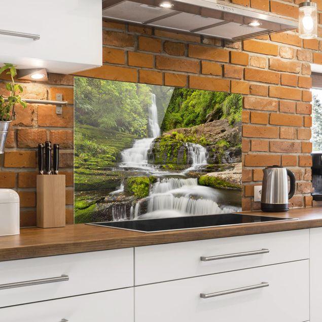 Spritzschutz Glas - Upper McLean Falls in Neuseeland - Querformat 2:3