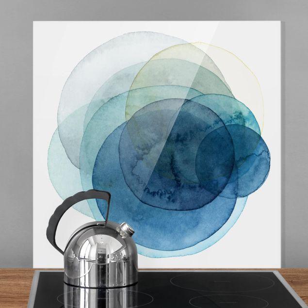 Spritzschutz Glas - Urknall - blau - Quadrat 1:1